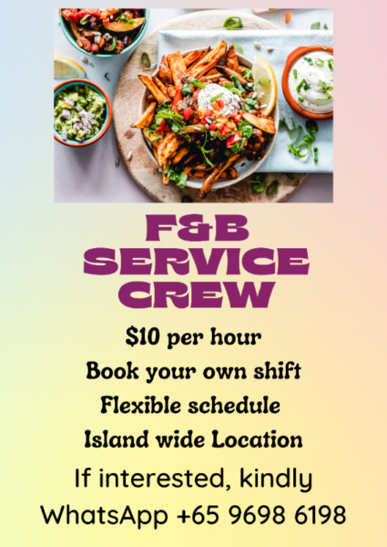 Looking for F&B Service Crew!!! Book your own shifts!!!