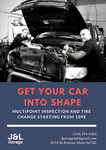Get your car into shape: full check-up + tire change from 109$