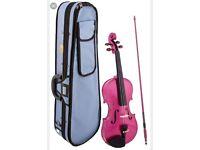 Stentor Harlequin 4/4 full size raspberry pink violin