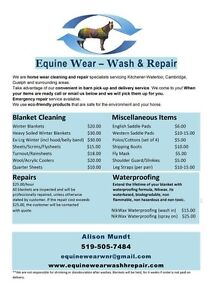 Horse Blanket Cleaning and Repair Service