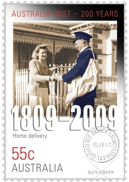 200 YEARS OF POSTAL SERVICES 'HOME DELIVERY' STAMP-COIN SET FROM THE PERTH MINT & AUSTRALIA POST