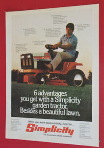 VINTAGE 1979 SIMPLICITY RIDING MOWER TRACTOR AD - ANNONCE