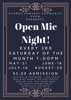 Shared Harvest Farm Presents: Open Mic Night - May 21st 7:00 PM