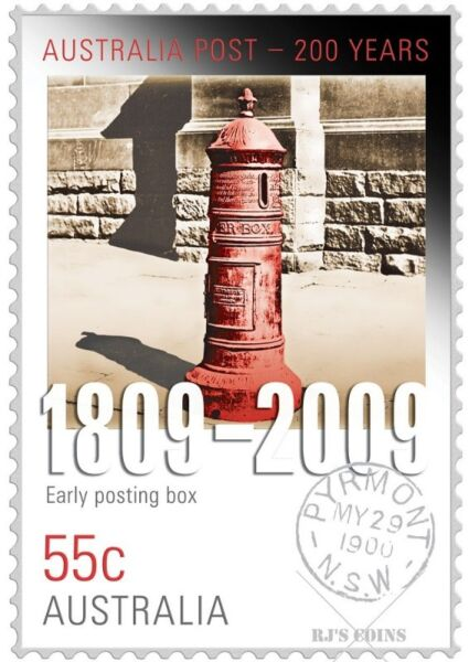 200 YEARS OF POSTAL SERVICES 'EARLY POST BOX' STAMP-COIN SET FROM THE PERTH MINT & AUSTRALIA POST