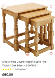 Devon Nest of 3 Coffee Tables solid pine only £30. Real Bargains Clear