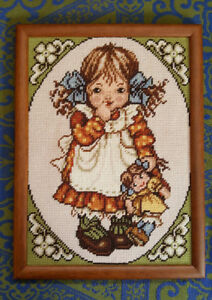 Vintage Needlepoint Hand Stitched Picture - Girl with Baby Doll