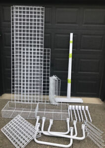 WHITE GRIDWALL W/ LEGS, SHELVES, BASKETS, U BARS, HOOKS ETC.