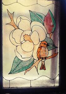 FAUX STAIN GLASS BIRD ON OLD ANTIQUE WINDOW