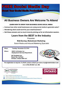 FREE - Social Media Day - All Business Owners Welcome - Tomorrow Windsor Region Ontario image 1