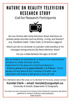 Male Research Participants Needed for Nature on Reality TV Study