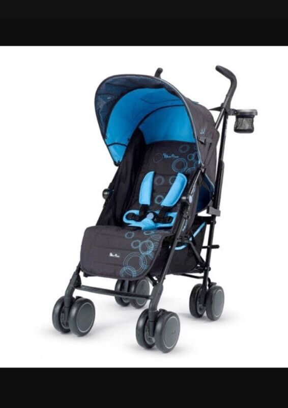 Silver Cross Pop Stroller Blue Bubbles Pushchair In