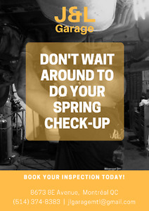 J&L Garage: Spring inspections available now!