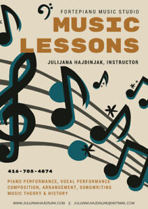 Music Lessons - Now reserving spots for 2018/2019!