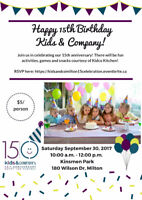 Kids and Company 15th year birthday celebration in Milton!