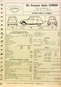 1970 citroen dyane 4 et 6 temps et cotes de chassis fiche technique l 39 expert ebay. Black Bedroom Furniture Sets. Home Design Ideas
