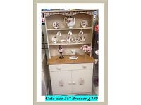 "Petite 34"" painted & decoupaged Welsh dresser"