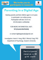 SEEKING PARENTS & YOUTH - PAID ONLINE STUDY ON TECHNOLOGY USE