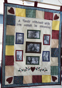 Quilted Family Photo Wall Hanging, New w/tags