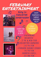 Feb Entertainment  at fuel stop sports bar in Prince Albert