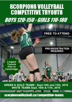 Scorpions Youth Volleyball Club Competitive Team Tryouts