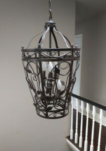Chandelier, Contemporary, Basket Shaped Wrought Iron