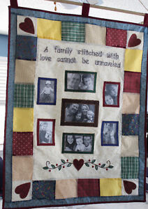 """""""Family Stitched With Love"""" Quilted Photo Wall Hanging, New!"""