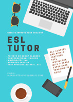 ESL Tutor. Conversation/Writing/Test Prep