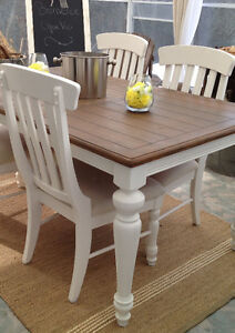 Dining table set in cream color, wood and 4 to 8 chairs