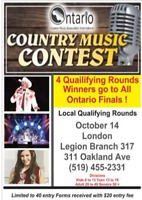 COUNTRY MUSIC CONTEST Local Qualifying Round Oct 14 in London