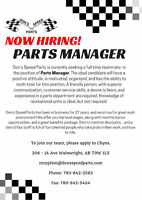 Parts Manager Position