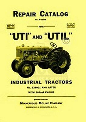 Minneapolis Moline Uti Util Repair Part Manual Catalog