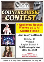 COUNTRY MUSIC CONTEST Qualifying Round  Sept 30 in Windsor