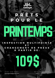 PROMOTION: inspection de printemps + pneus a.p.d 109$