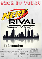 Nerf Rival Summer League, Ages 10-14! ($80) Space is Limited.