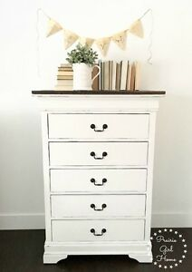 White Painted Chest of Drawers Tallboy Dresser
