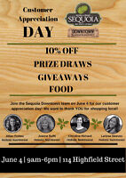 SEQUOIA DOWNTOWN CUSTOMER APPRECIATION DAY!