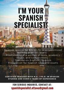 SPANISH LESSONS $15.00/HR AND OTHER SERVICES