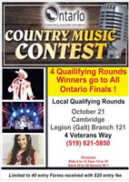 COUNTRY MUSIC CONTEST Local Qualifying Round Oct 21 in Cambridge