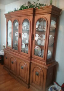 NEW PRICE Solid Wood China Cabinet w Glass Shelves
