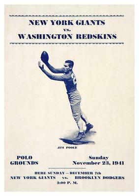 Washington Redskins vs New York Giants POSTER 1941 Football NFL Jim Poole NYC