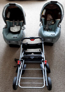 Double stroller frame  and two car seats