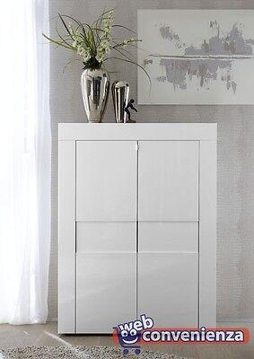EASY Mobile Madia Moderno Verticale 2 Ante Bianco laccato lucido con ripiani