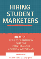 16$/H STUDENT MARKETING POSITION! APPLY NOW!