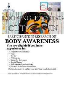 PARTICIPANTE IN RESEARCH ON  BODY AWARENESS $10