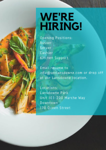 HIRING Bussers, Cashier, Line Cooks for an Asian Kitchen