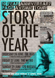 STORY OF THE YEAR 2014 Australian Tour Poster A2 Page Avenue 10 Anniversary NEW