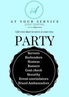 At Your Service offering FULL Event staffing Bartenders. Server