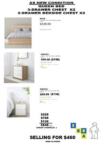 MALM IKEA BED AND BEDROOM SET (QUEEN SIZE) AS NEW