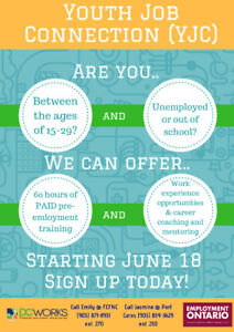 Out of work and school? Between the ages of 15-29? We can help!