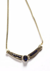 Blue Sapphire and Diamond V-shaped Pendant Necklace